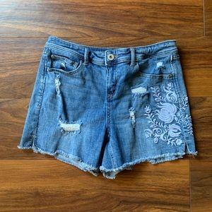 INC Demim Shorts Size 6 with Floral Embroidery